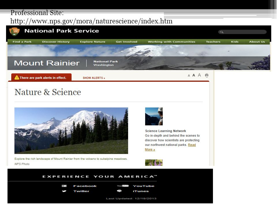 Professional Site: http://www.nps.gov/mora/naturescience/index.htm