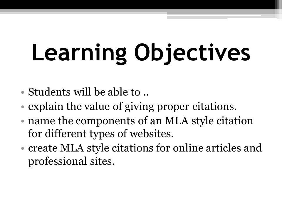 Learning Objectives Students will be able to ..