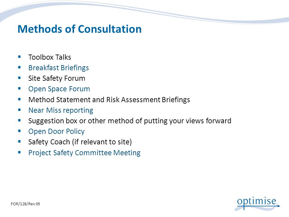 Methods of Consultation