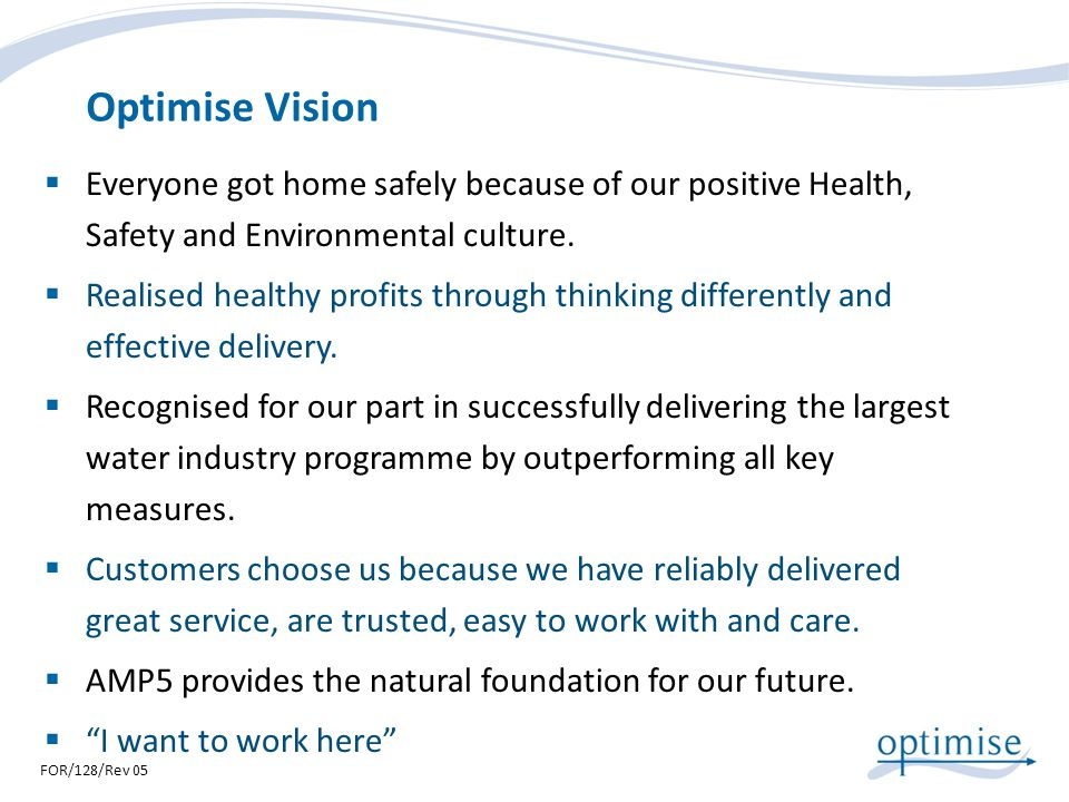 Optimise Vision Everyone got home safely because of our positive Health, Safety and Environmental culture.