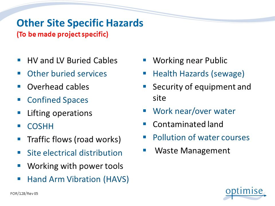 Other Site Specific Hazards (To be made project specific)
