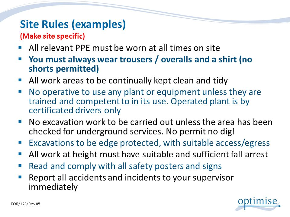 Site Rules (examples) (Make site specific)