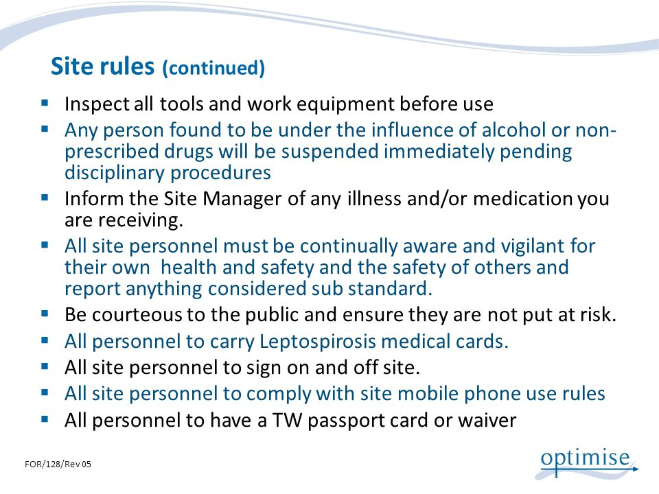 Site rules (continued)