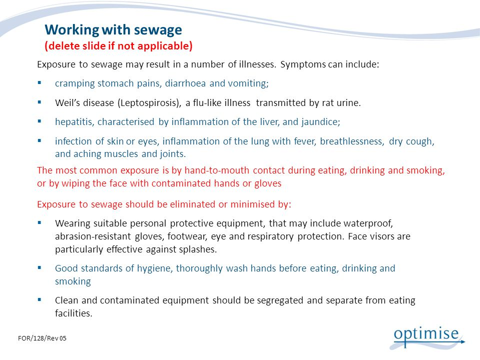 Working with sewage (delete slide if not applicable)