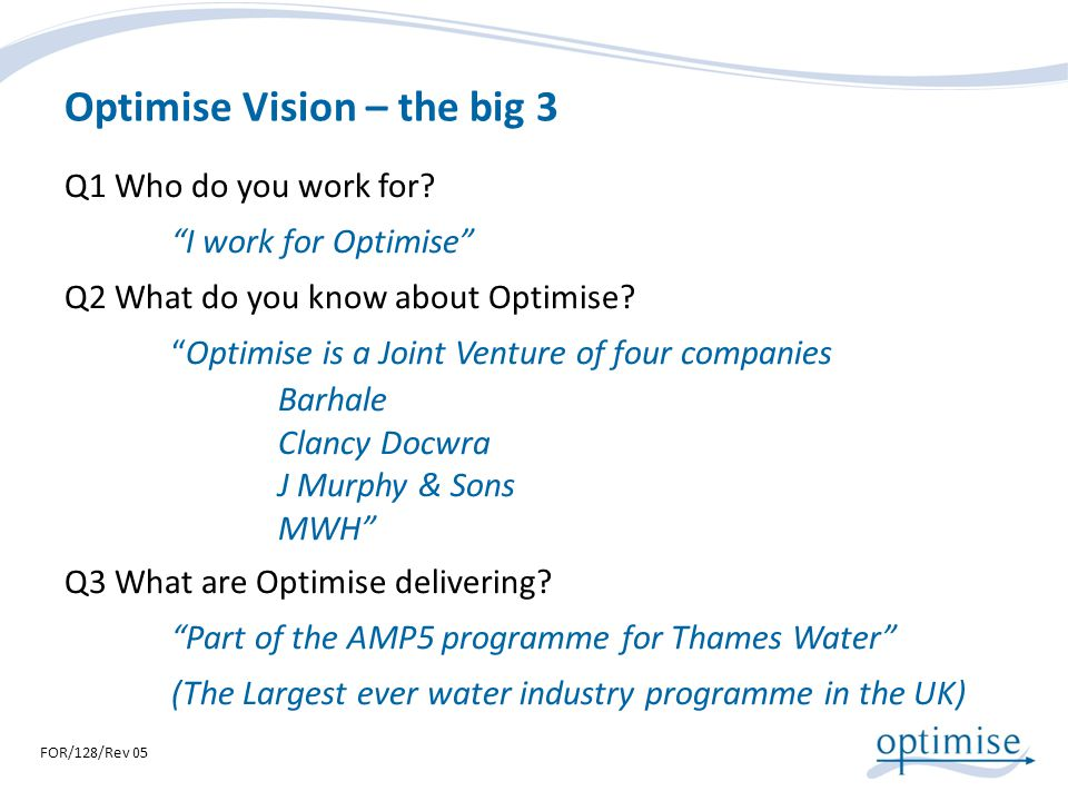 Optimise Vision – the big 3