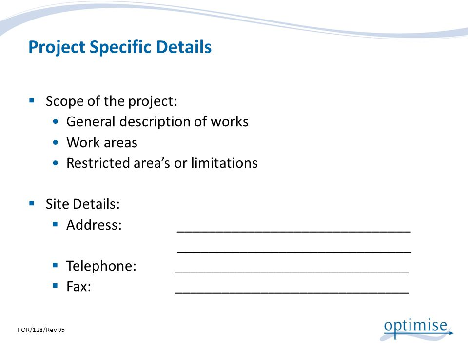 Project Specific Details