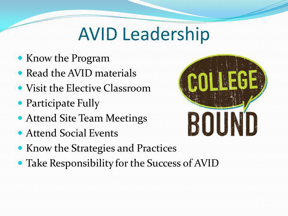 AVID Leadership Know the Program Read the AVID materials