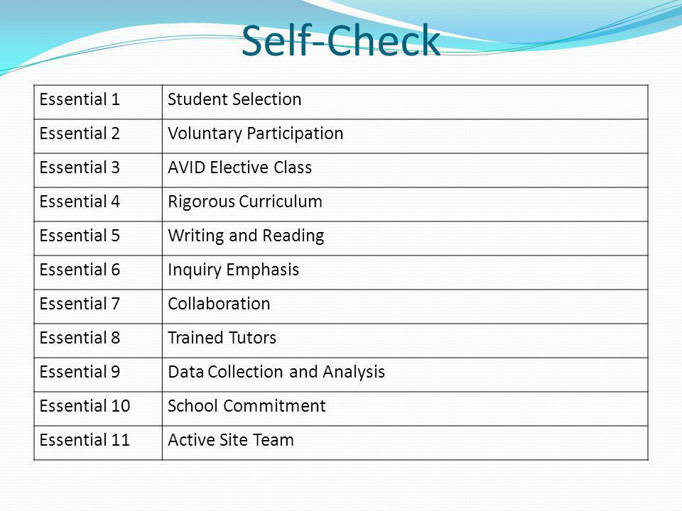 Self-Check Essential 1 Student Selection Essential 2