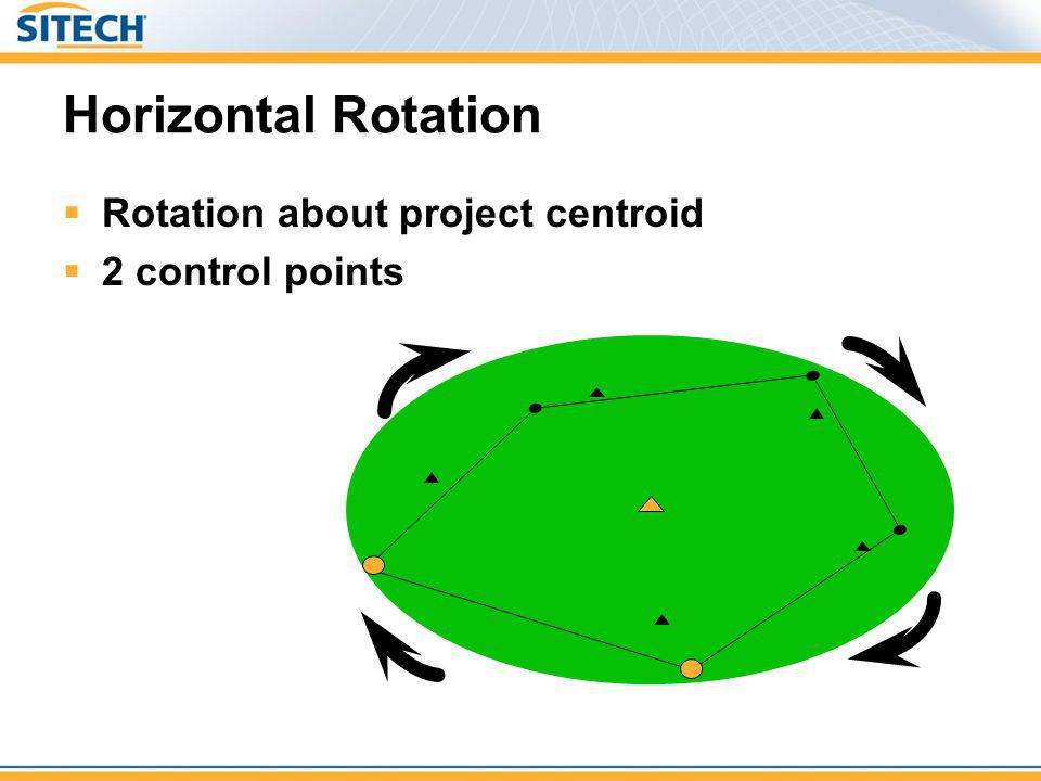 Horizontal Rotation Rotation about project centroid 2 control points