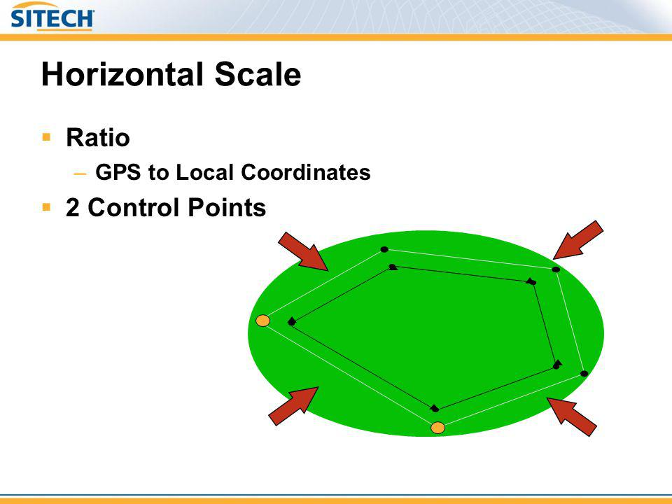 Horizontal Scale Ratio GPS to Local Coordinates 2 Control Points
