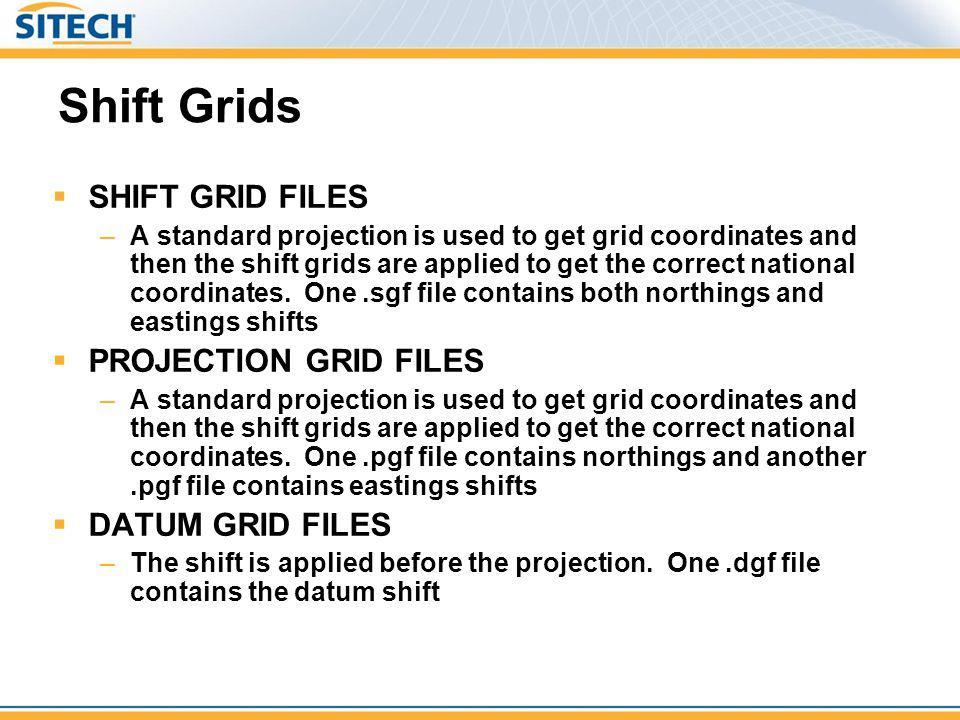 Shift Grids SHIFT GRID FILES PROJECTION GRID FILES DATUM GRID FILES