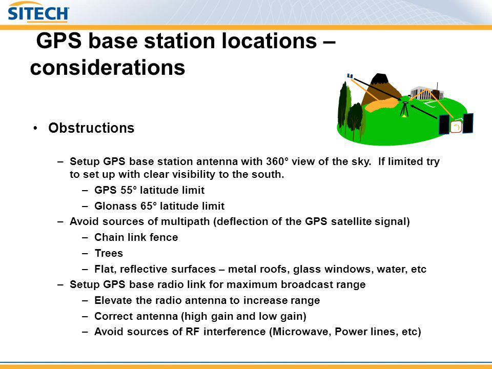 GPS base station locations – considerations
