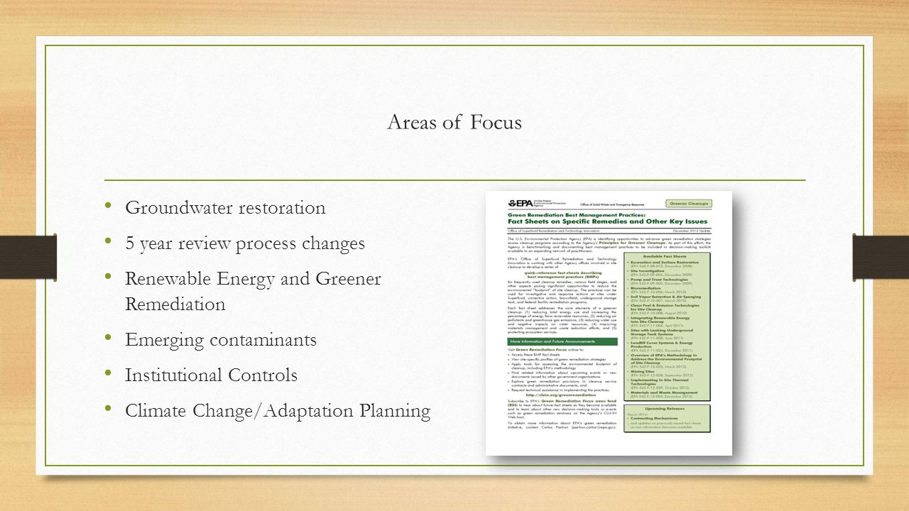 Areas of Focus Groundwater restoration 5 year review process changes