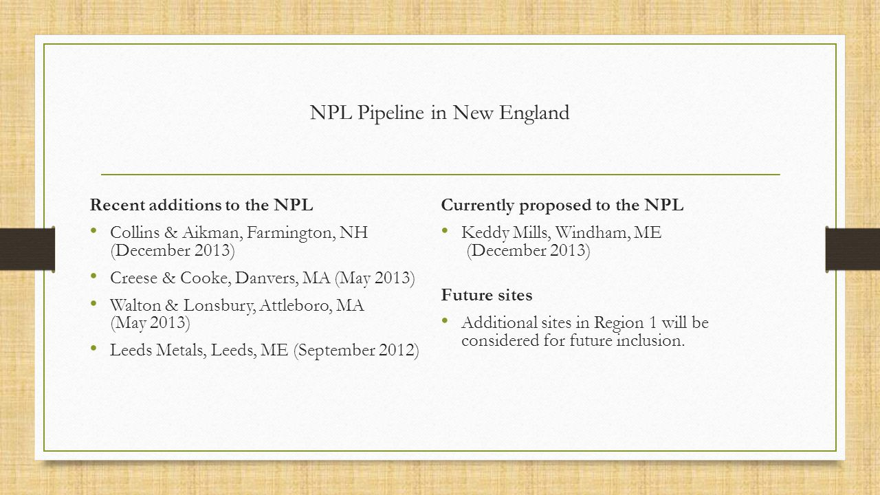 NPL Pipeline in New England