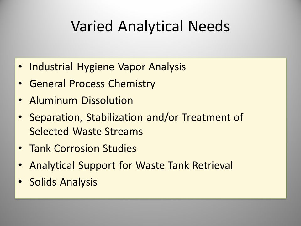 Varied Analytical Needs