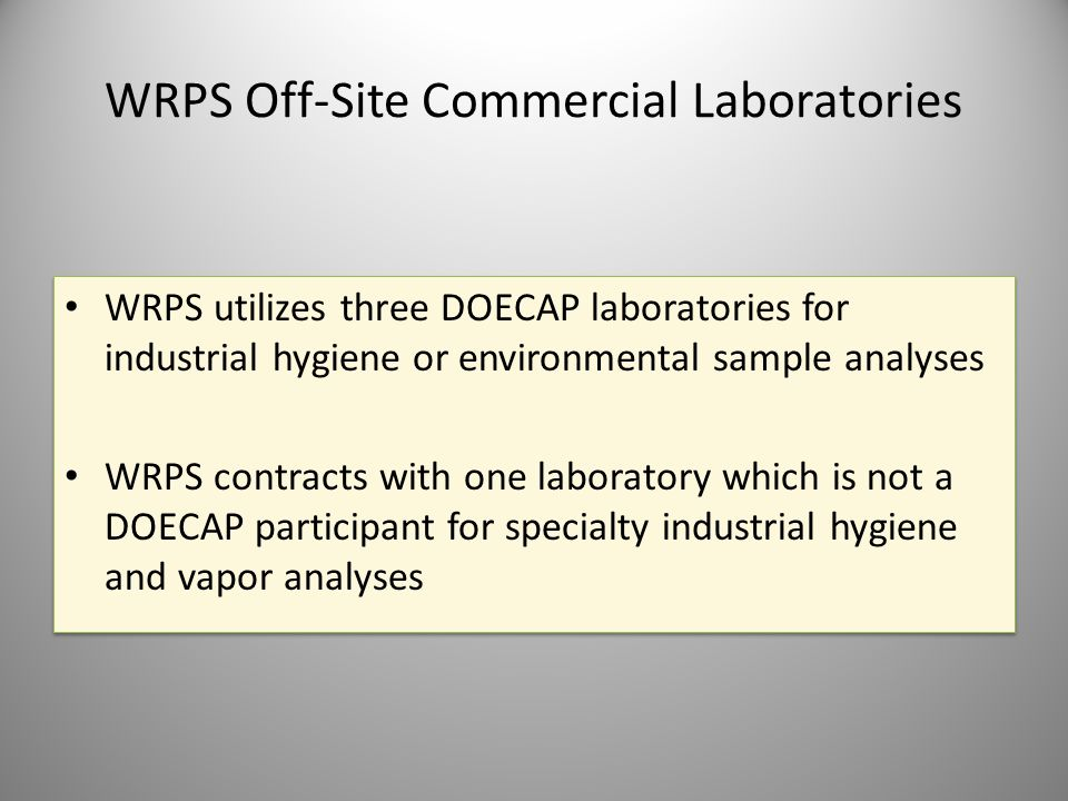 WRPS Off-Site Commercial Laboratories