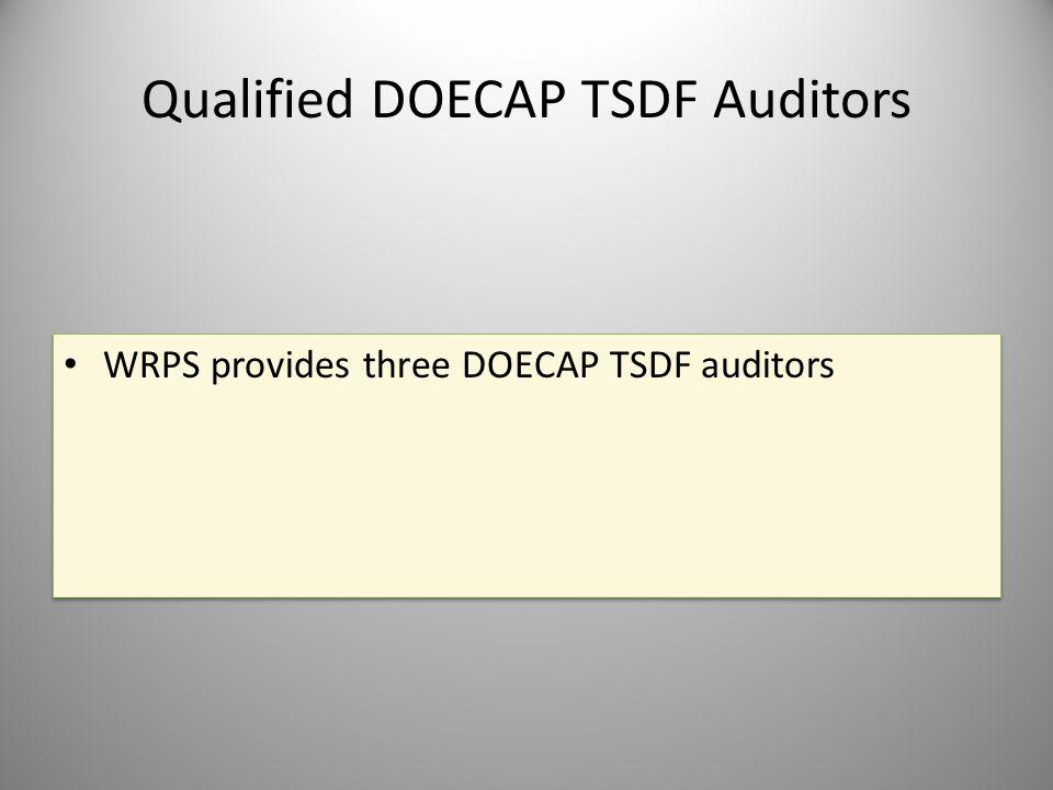 Qualified DOECAP TSDF Auditors