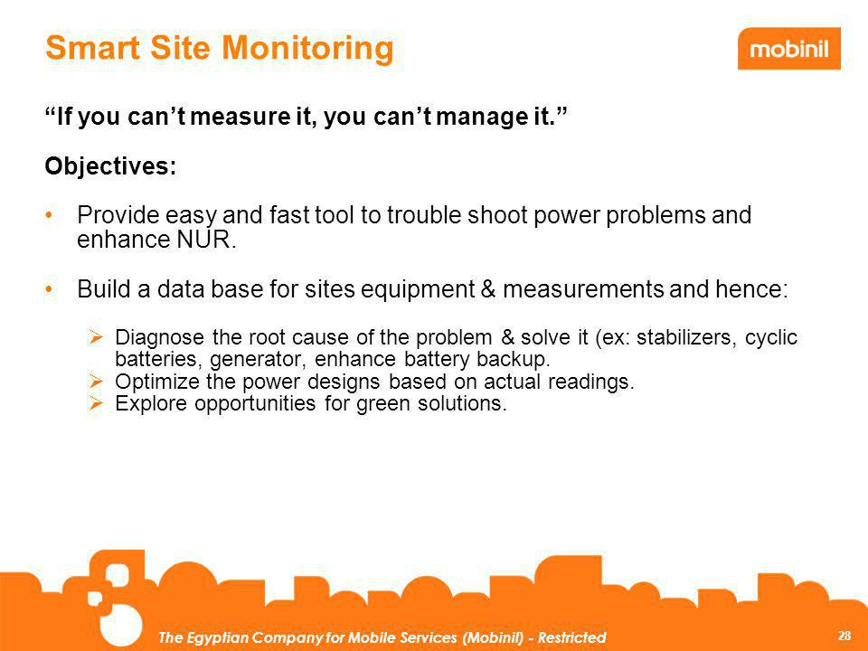 Smart Site Monitoring If you can't measure it, you can't manage it.