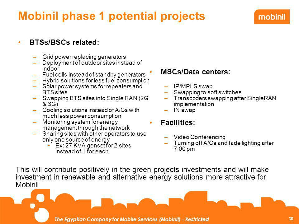 Mobinil phase 1 potential projects