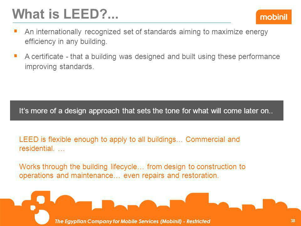 What is LEED ... An internationally recognized set of standards aiming to maximize energy efficiency in any building.