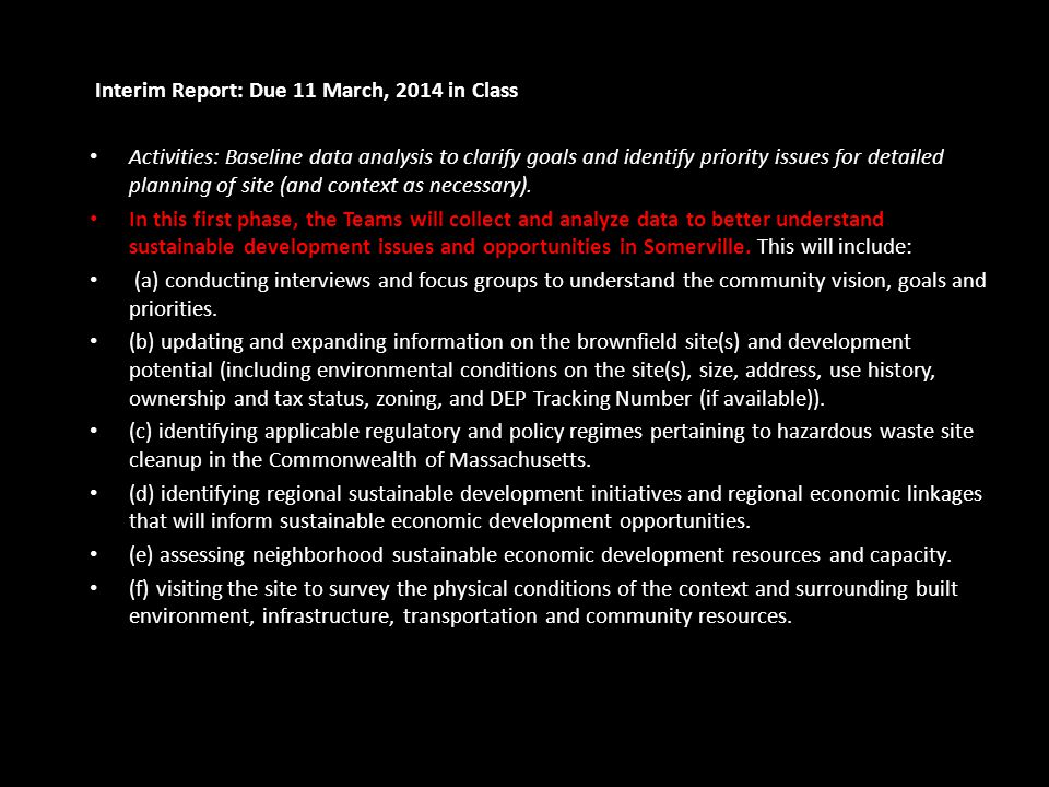 Interim Report: Due 11 March, 2014 in Class