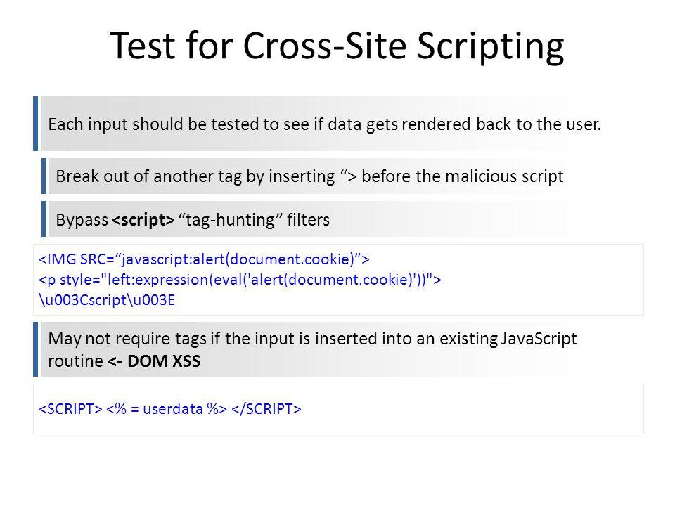 Test for Cross-Site Scripting