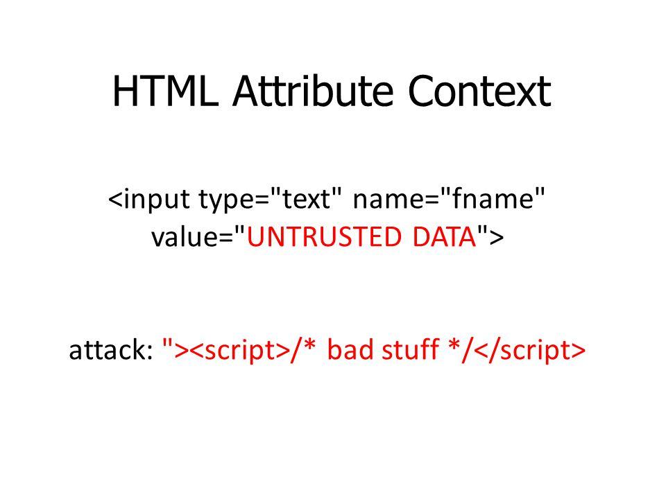 HTML Attribute Context