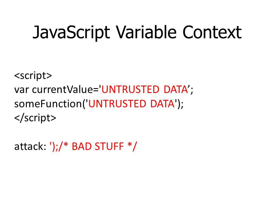JavaScript Variable Context