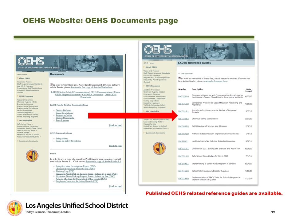 OEHS Website: OEHS Documents page