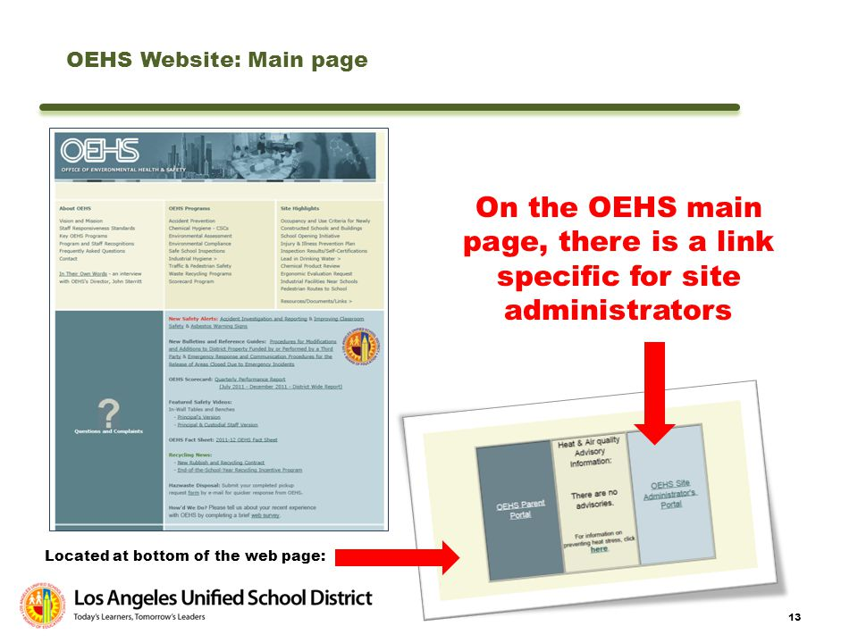 OEHS Website: Main page
