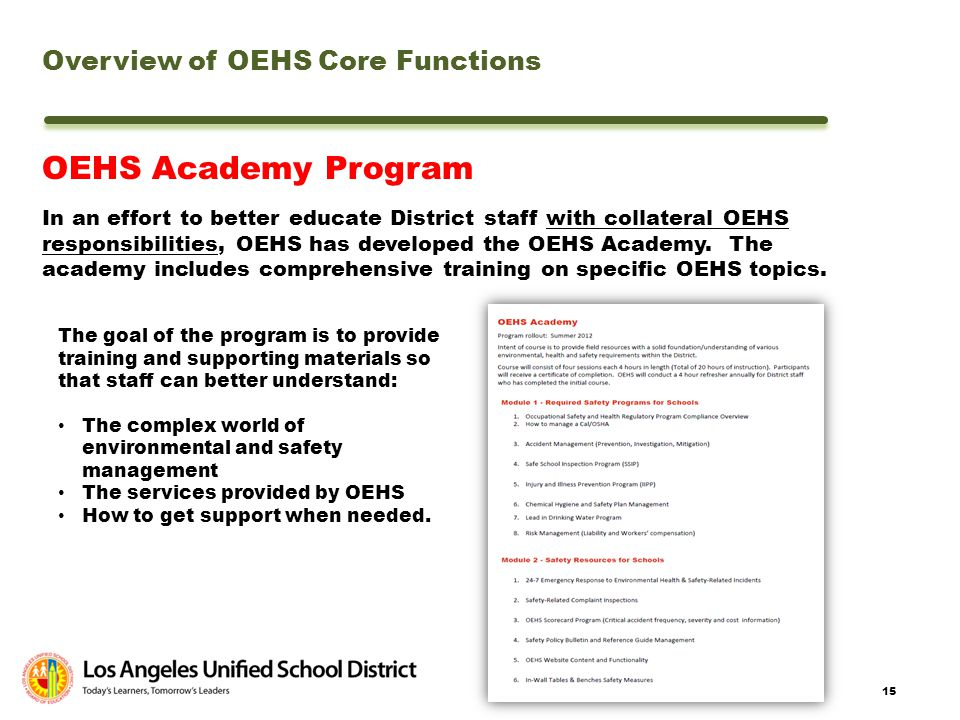 OEHS Academy Program Overview of OEHS Core Functions