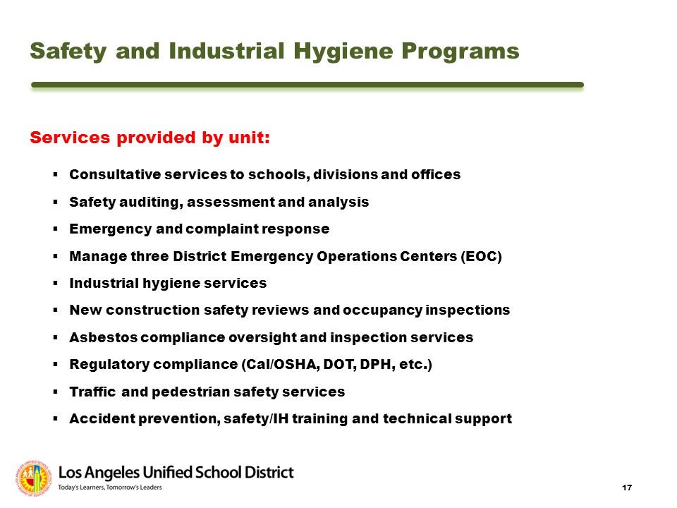 Safety and Industrial Hygiene Programs