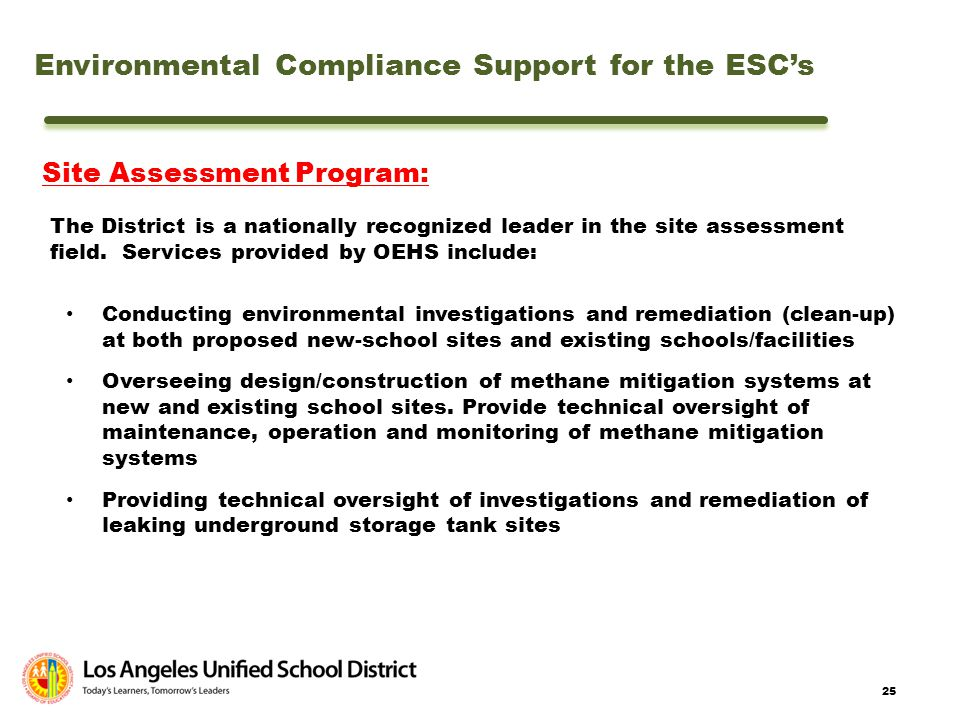 Environmental Compliance Support for the ESC's