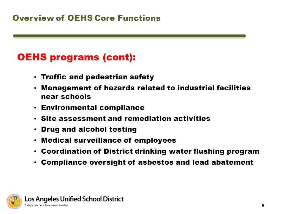 OEHS programs (cont): Overview of OEHS Core Functions