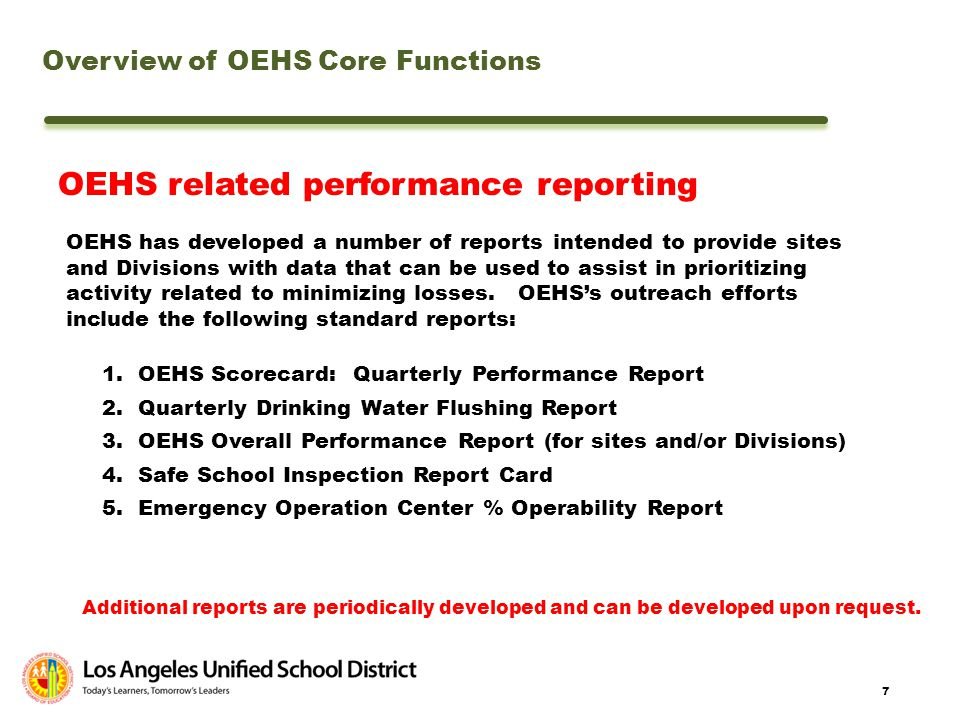OEHS related performance reporting