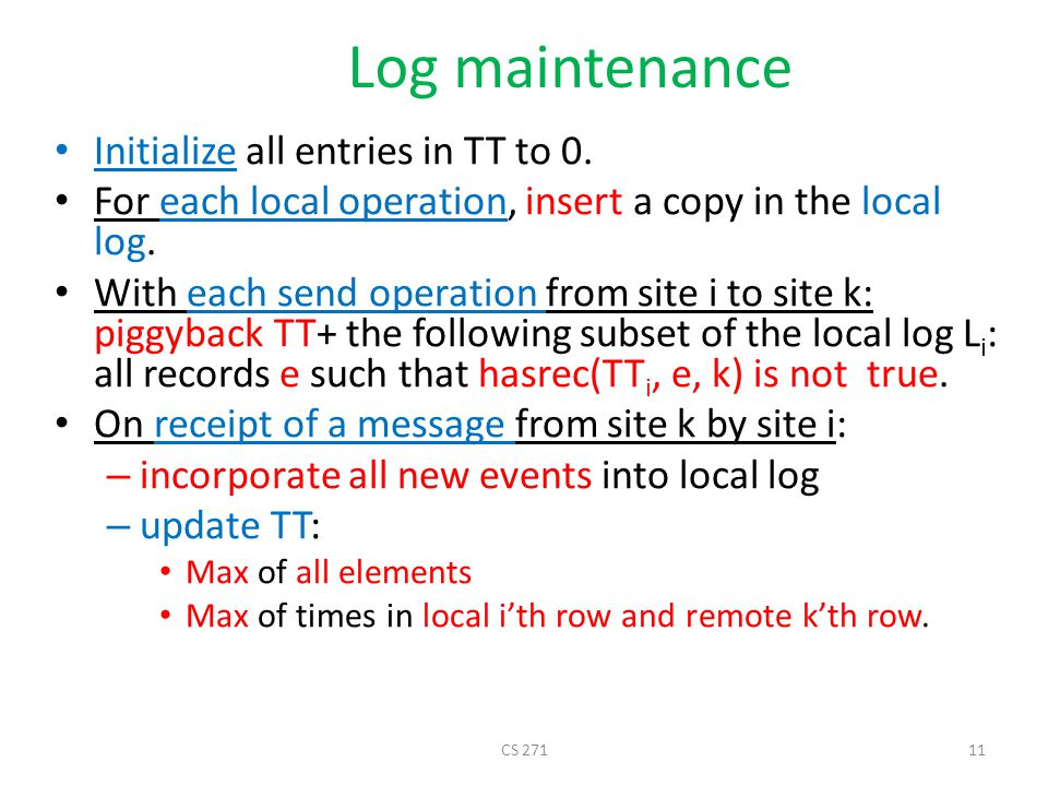Log maintenance Initialize all entries in TT to 0.