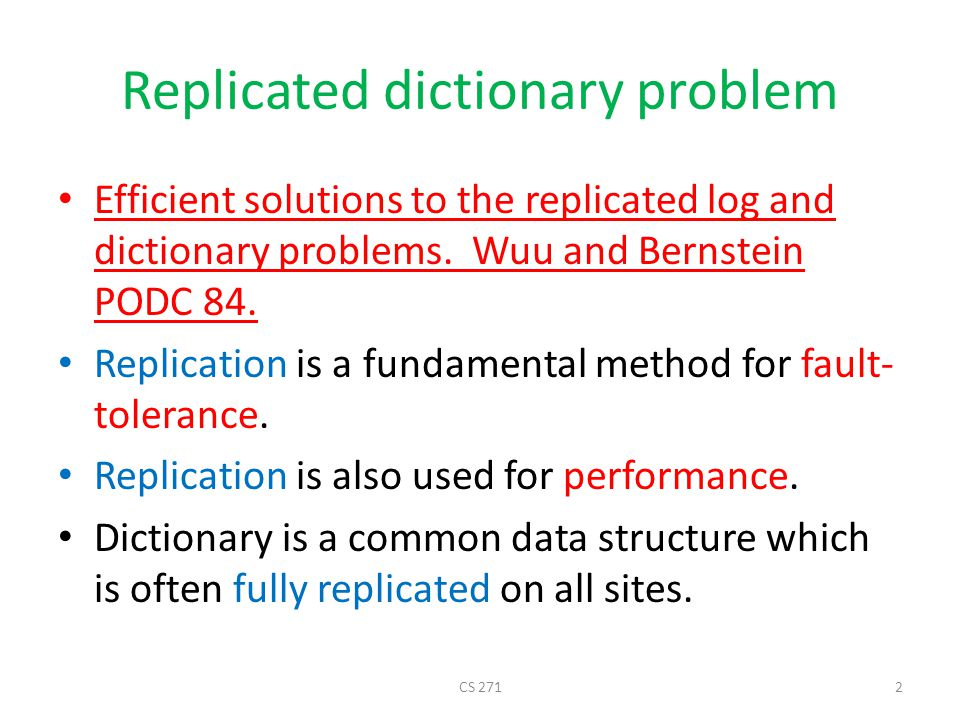 Replicated dictionary problem