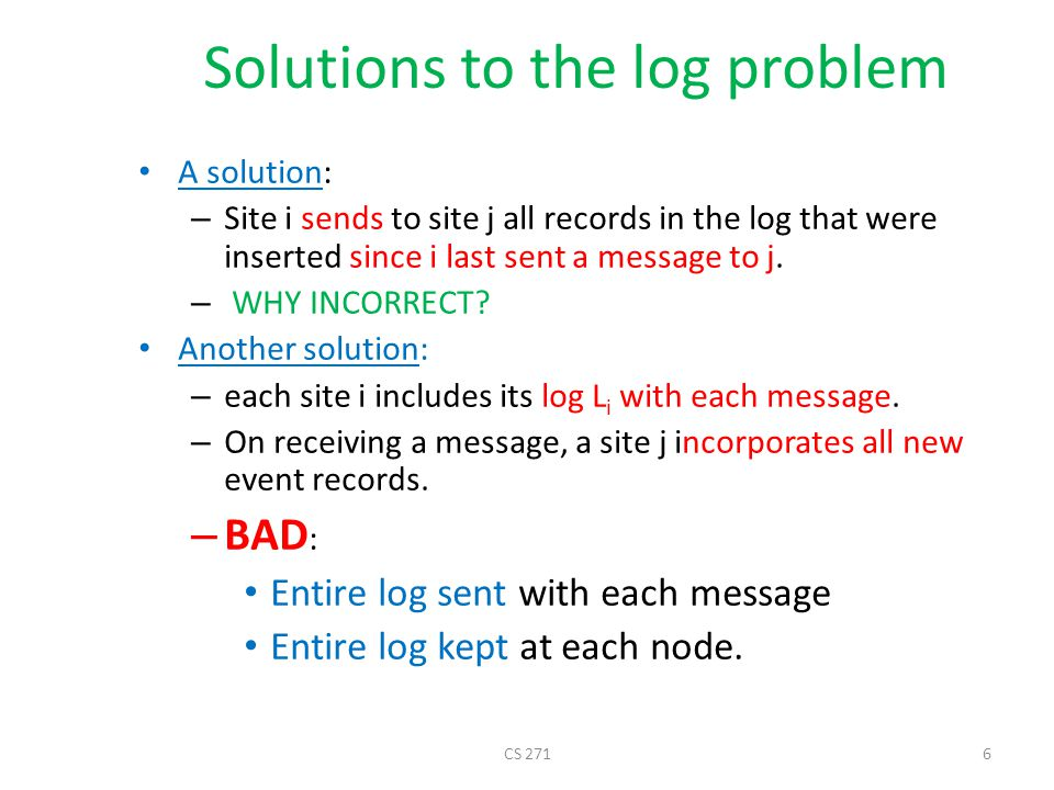 Solutions to the log problem
