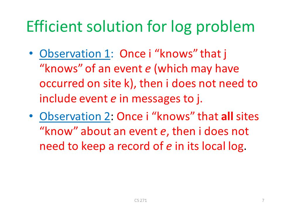 Efficient solution for log problem