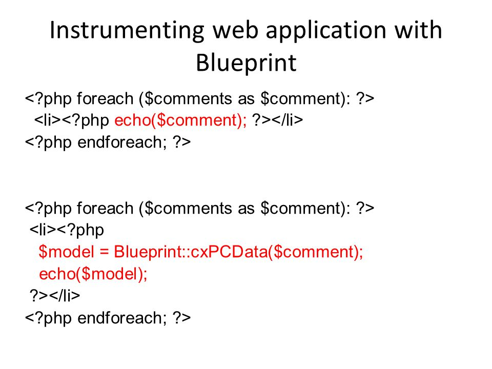 Instrumenting web application with Blueprint