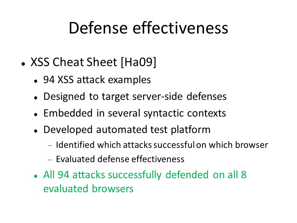 Defense effectiveness