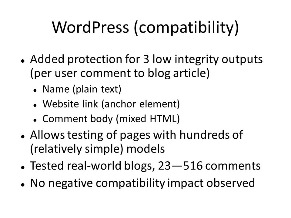 WordPress (compatibility)