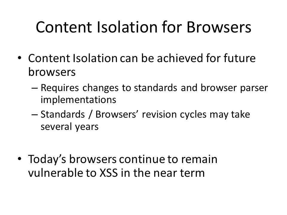 Content Isolation for Browsers