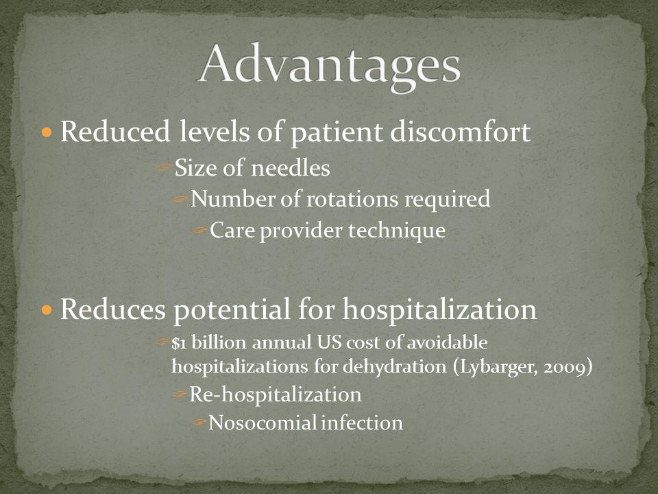 Advantages Reduced levels of patient discomfort