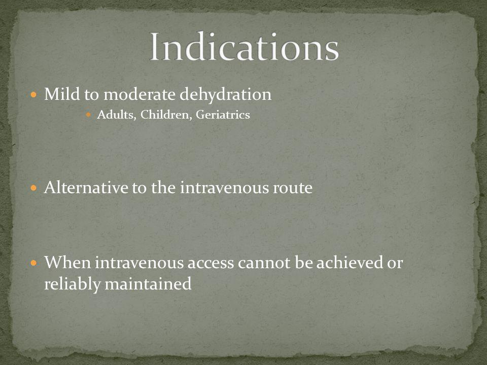 Indications Mild to moderate dehydration