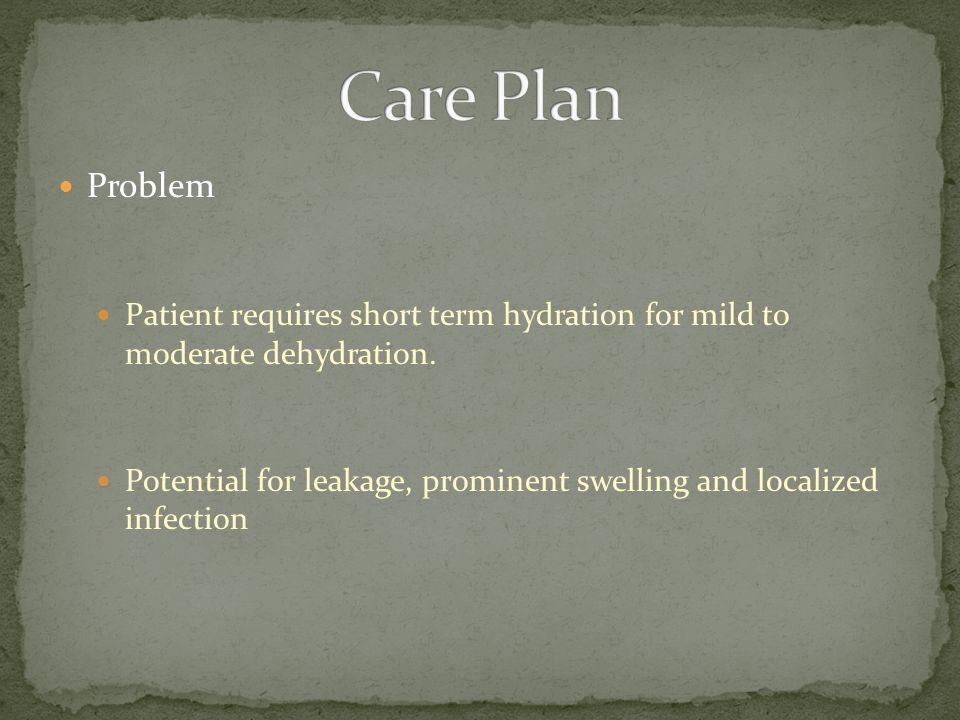 Care Plan Problem. Patient requires short term hydration for mild to moderate dehydration.
