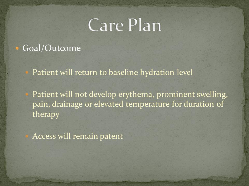 Care Plan Goal/Outcome Patient will return to baseline hydration level