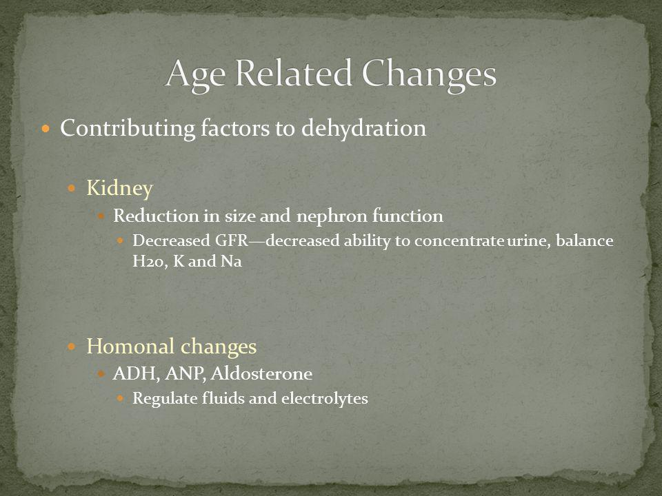 Age Related Changes Contributing factors to dehydration Kidney