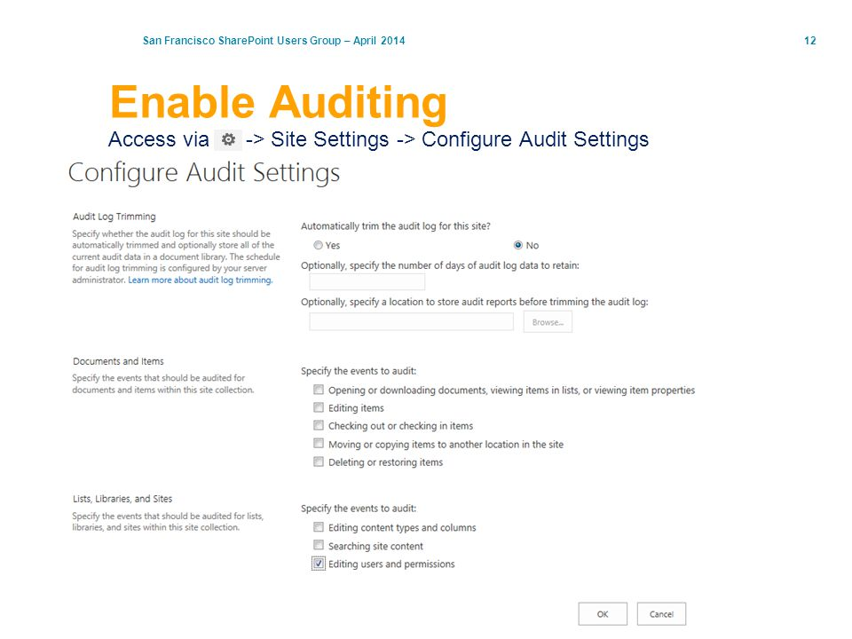 Enable Auditing Access via -> Site Settings -> Configure Audit Settings